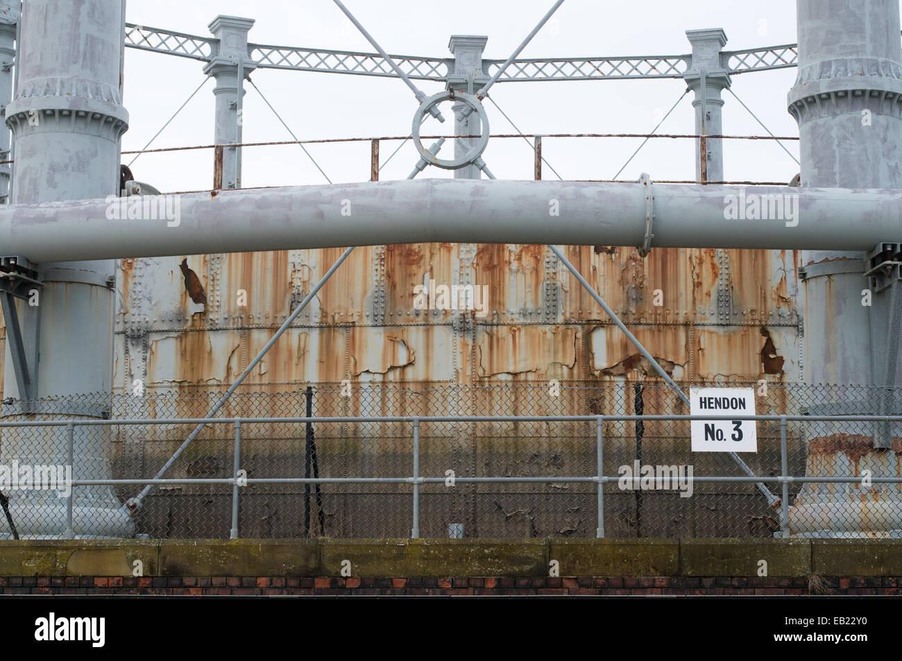 Detailansicht der Viktorianischen Gasometer in Hendon, Sunderland, North East England Großbritannien Stockbild