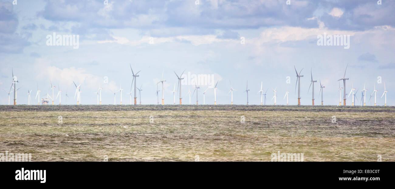 Großbritannien, Wales, North Hoyle Offshore-Windpark Stockbild