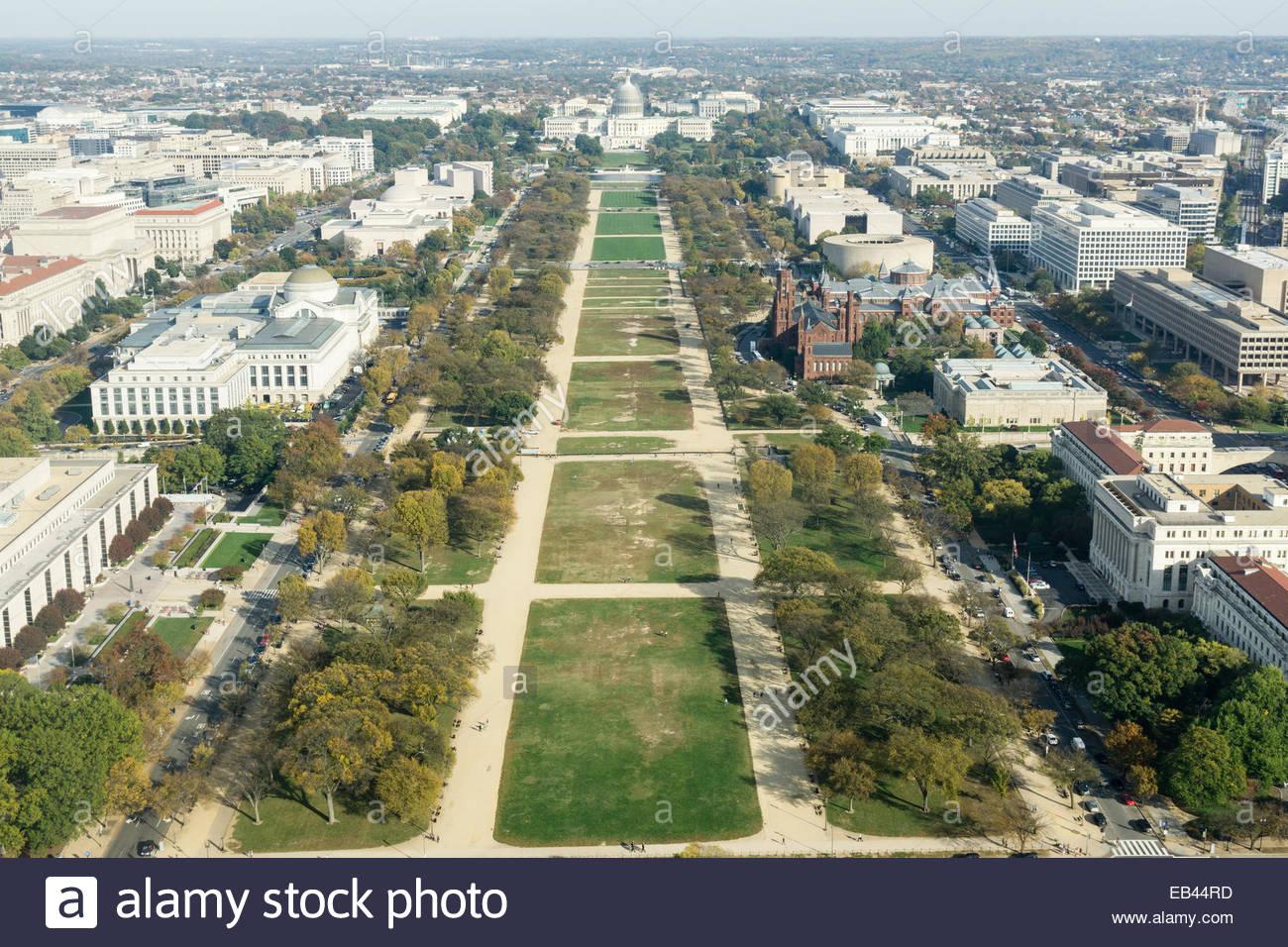 Luftbild von der National Mall vom Washington Monument auf dem Kapitol. Stockbild