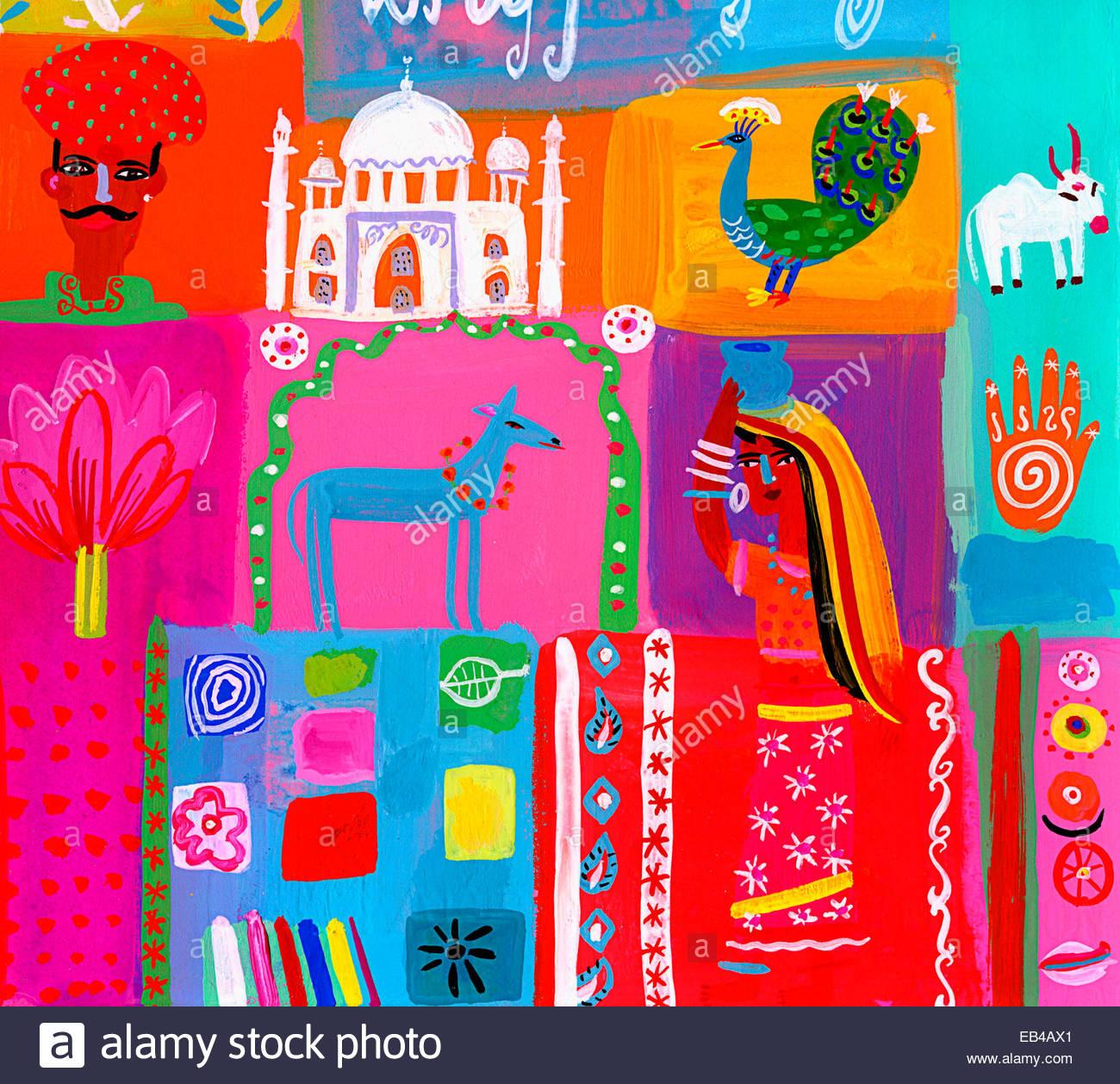 Montage der traditionellen Kultur in Indien Stockbild