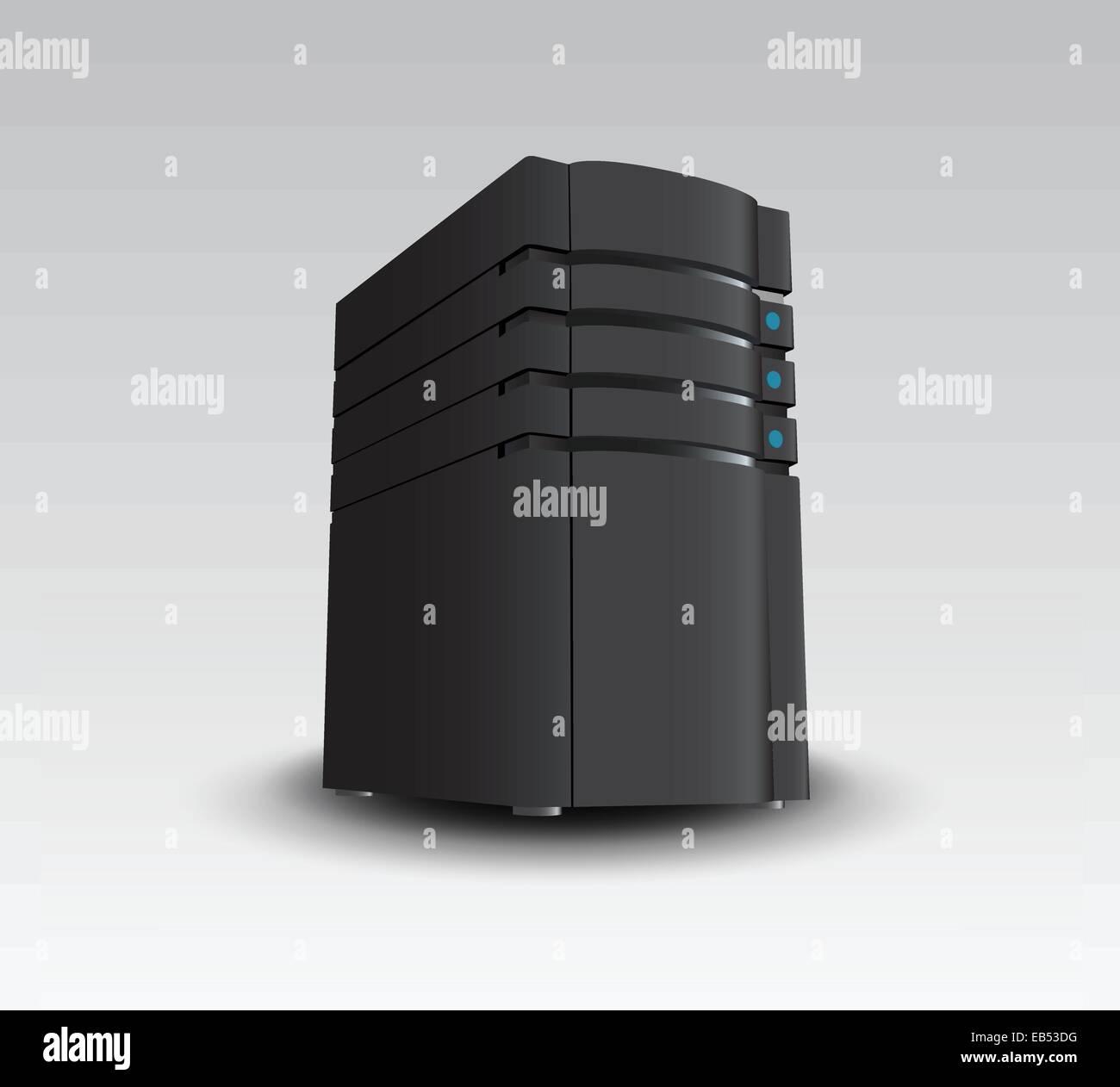 Digital erzeugte schwarze Server tower Stockbild