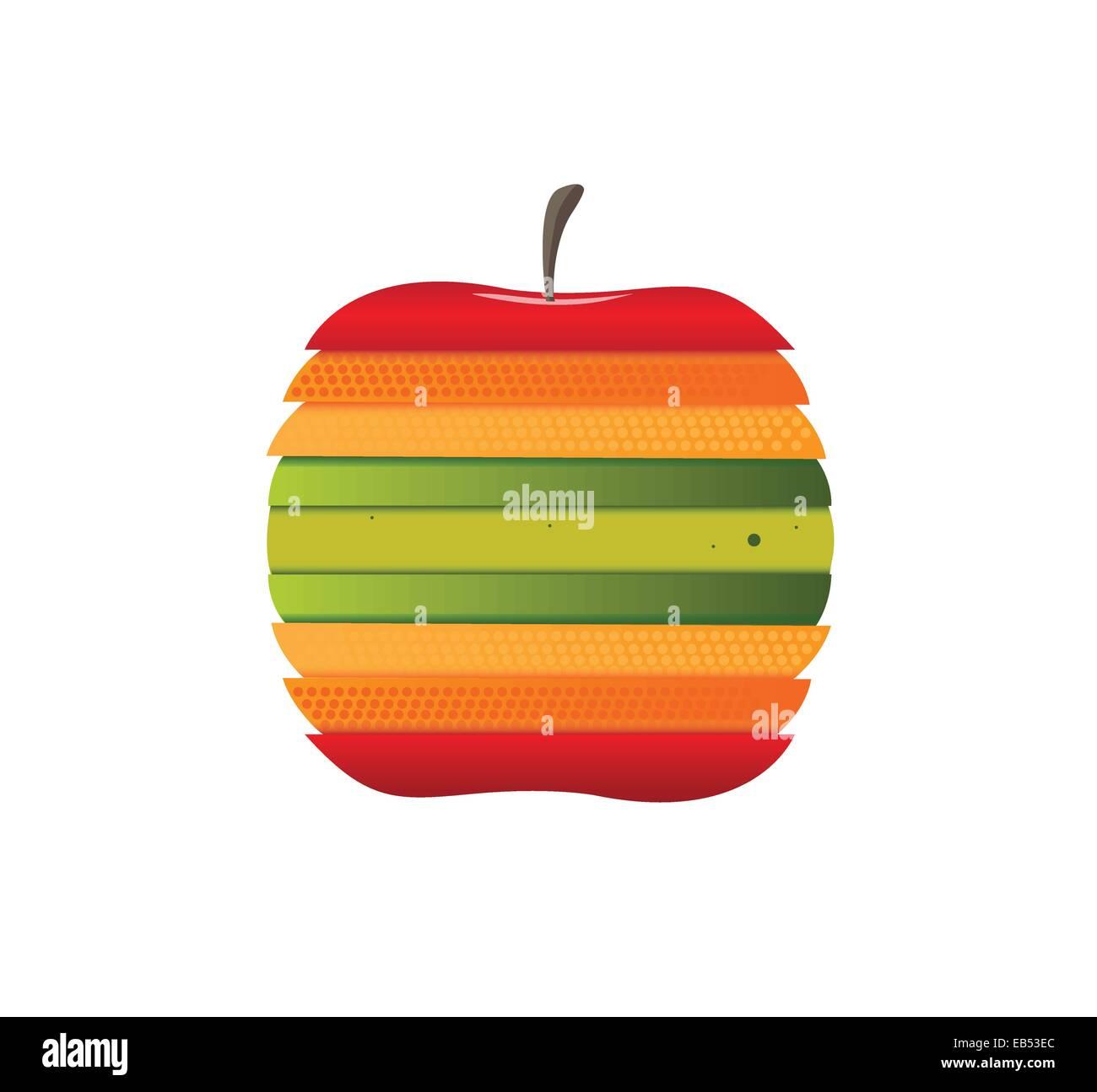 Digital erzeugte Apfel mit verschiedenfarbigen Scheiben Stockbild