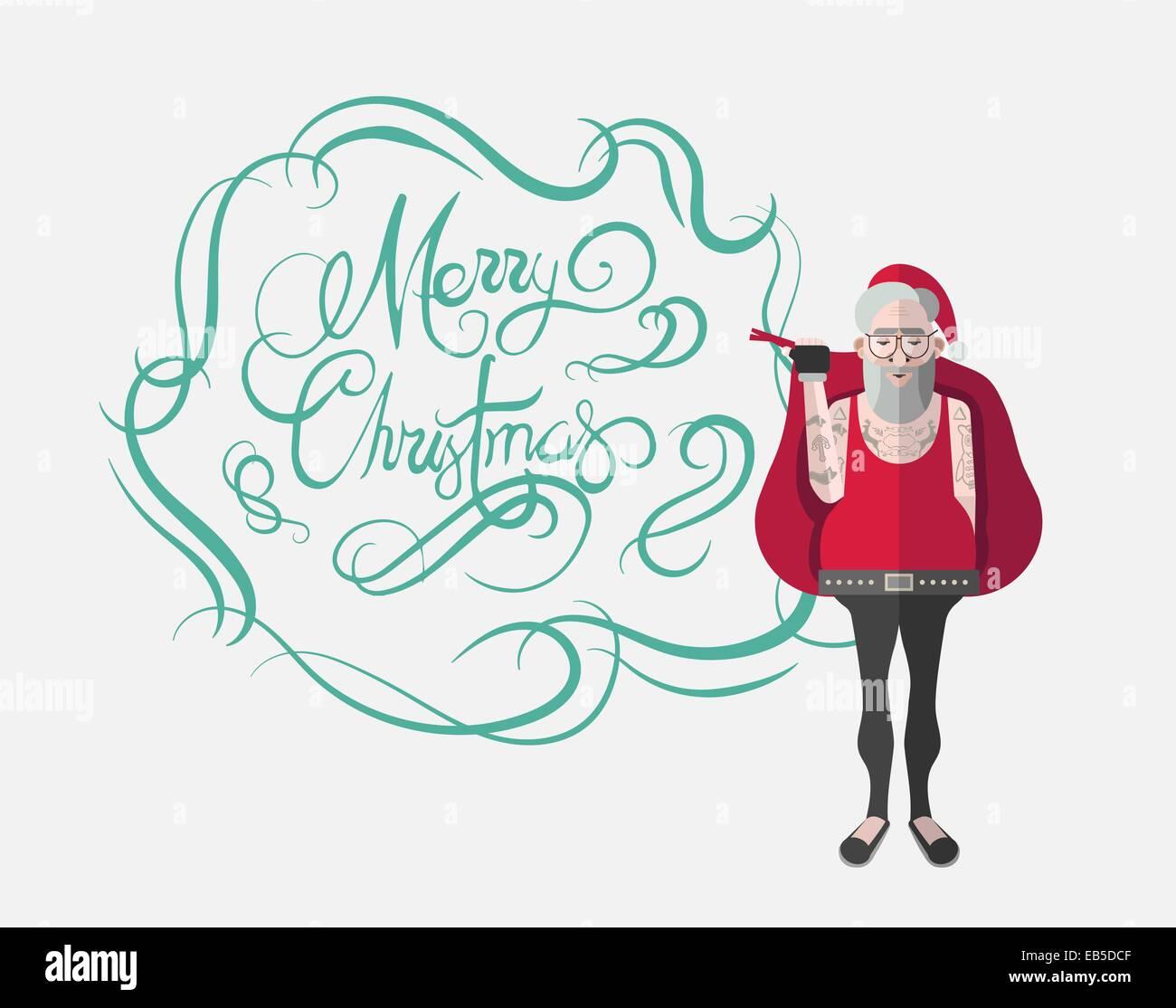 Frohe Weihnachten Nachricht Vektor in Kursivschrift grün mit Hipster ...