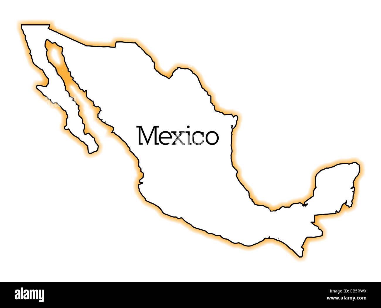 Mexiko Karte Umriss.Der Umriss Von Mexiko Auf Einem Weissen Hintergrund Stockfoto