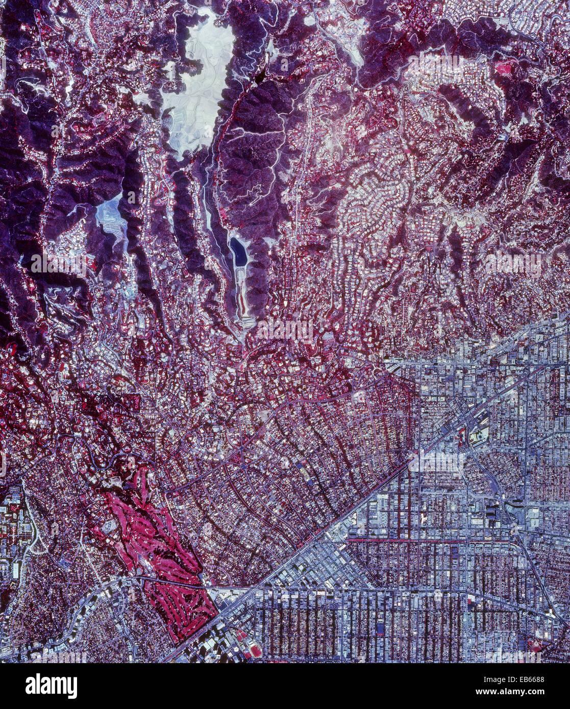 historische Infrarot-Luftaufnahme von Beverly Hills, Kalifornien, 1989 Stockbild