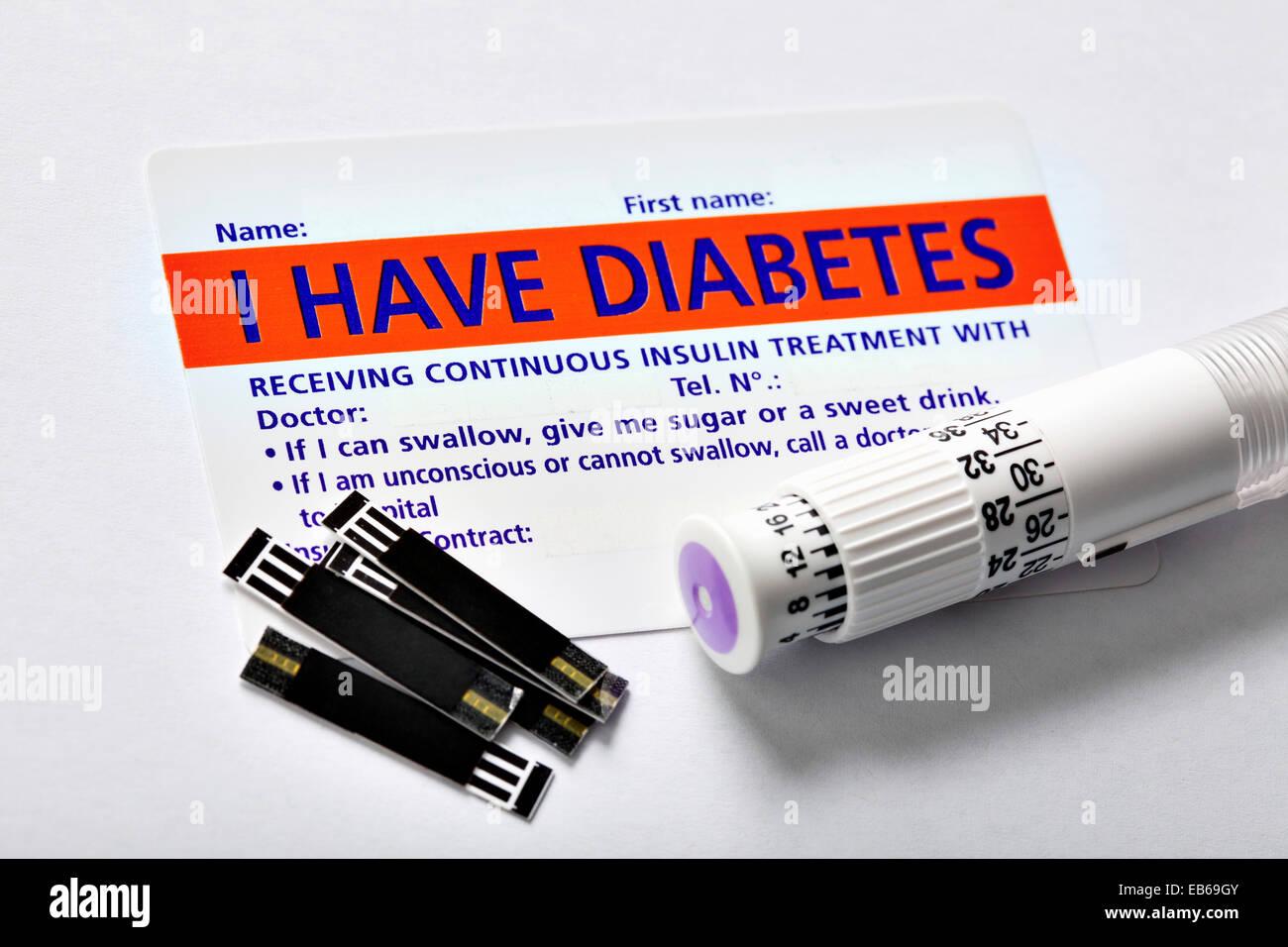 DIABETES-KARTE Stockbild
