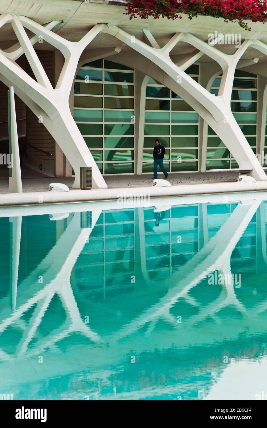Stadt der Künste und Wissenschaften Architekten Santiago Calatrava und Felix Candela Valencia Comunidad Valencia Stockbild