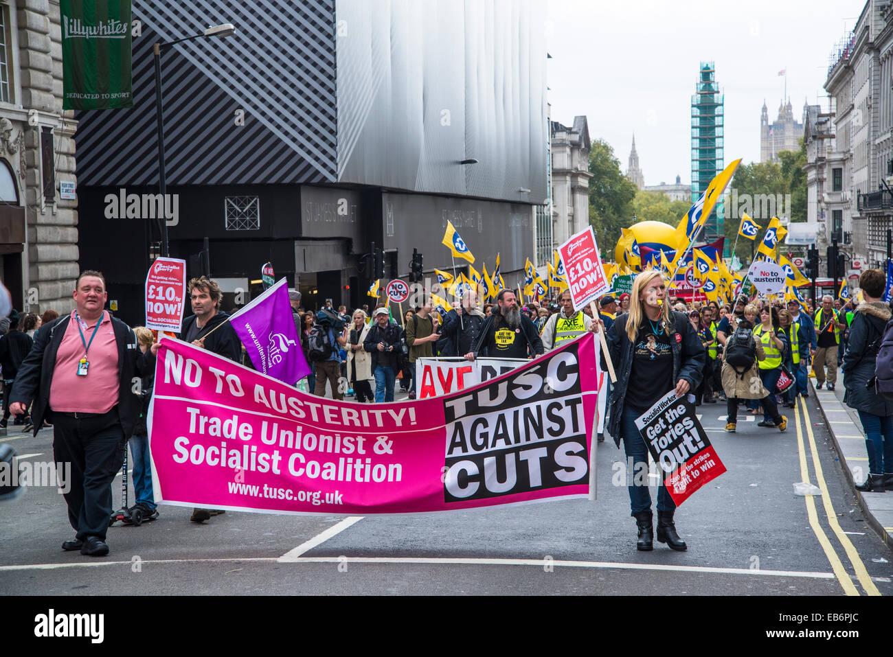 Großbritannien braucht eine März Zahlen steigen, Gewerkschafter & sozialistischen Koalition, Tusc, Stockbild