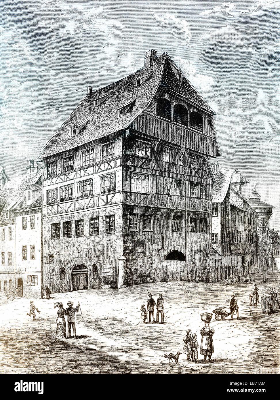 Albrecht-Dürer-Haus aufbauend auf Tiergaertnertorplatz Quadratmeter, Nürnberg, Middle Franconia, Bayern, Stockbild