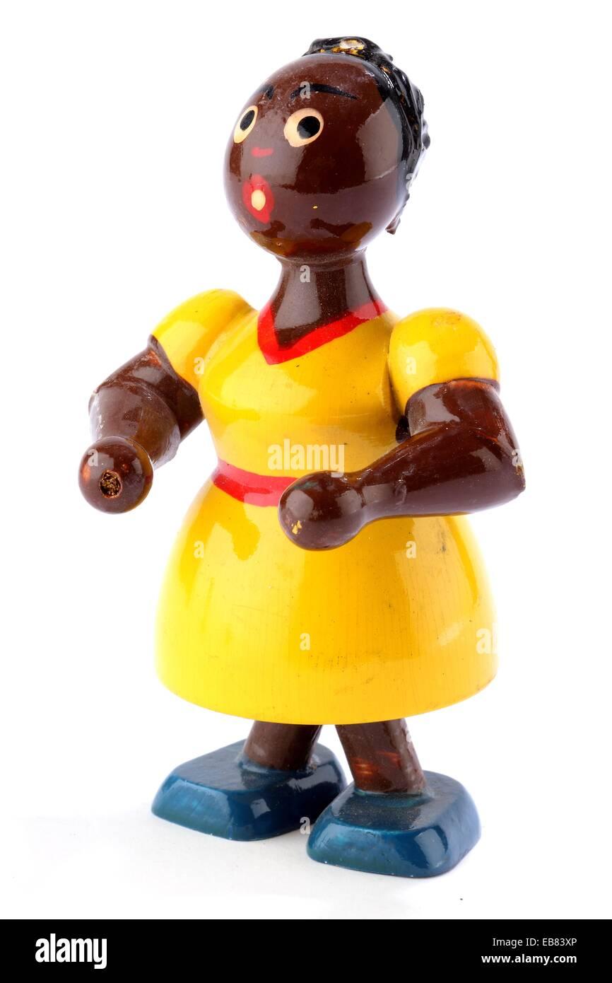 Antikes Spielzeug sammeln Polychrome hölzerne Puppe Stockbild