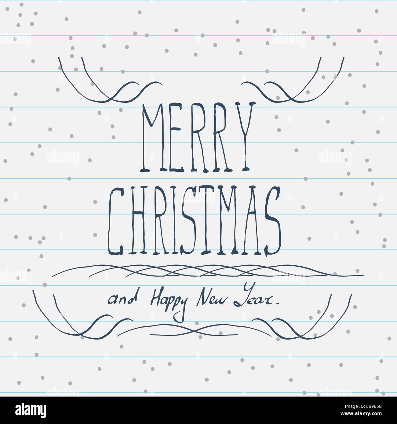 Handgezeichnete Frohe Weihnachten Skizze Stockfoto, Bild: 75809031 ...