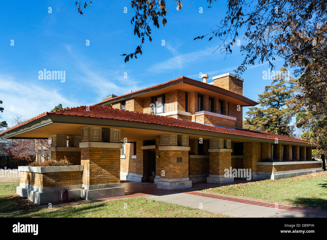 Frank Lloyd Wright entworfen, Allen-Lambe House, 255 N Roosevelt Street, Wichita, Kansas, USA Stockbild