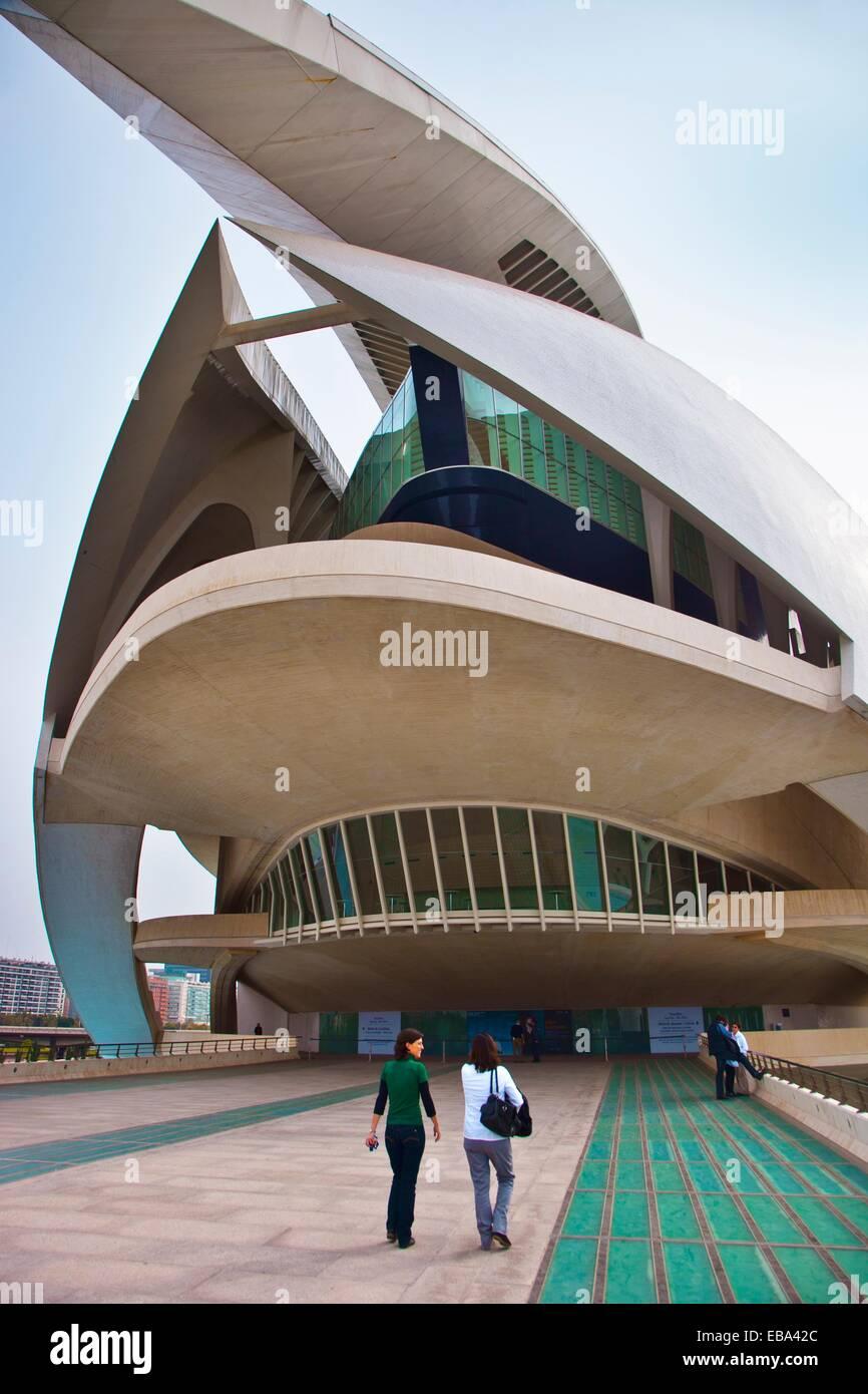 Königin Sofia Kunst Palast-Stadt der Künste und Wissenschaften Architekt Santiago Calatrava Valencia Comunidad Stockbild