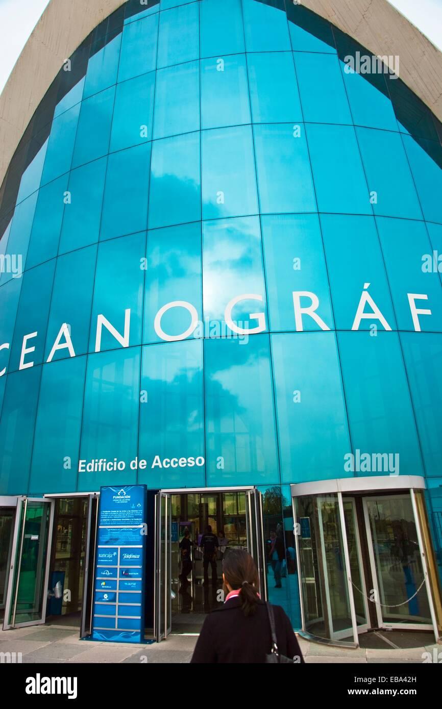 Ozeanographische Stadt der Künste und Wissenschaften Architekt Felix Candela Valencia Comunidad Valencia Spanien Stockbild