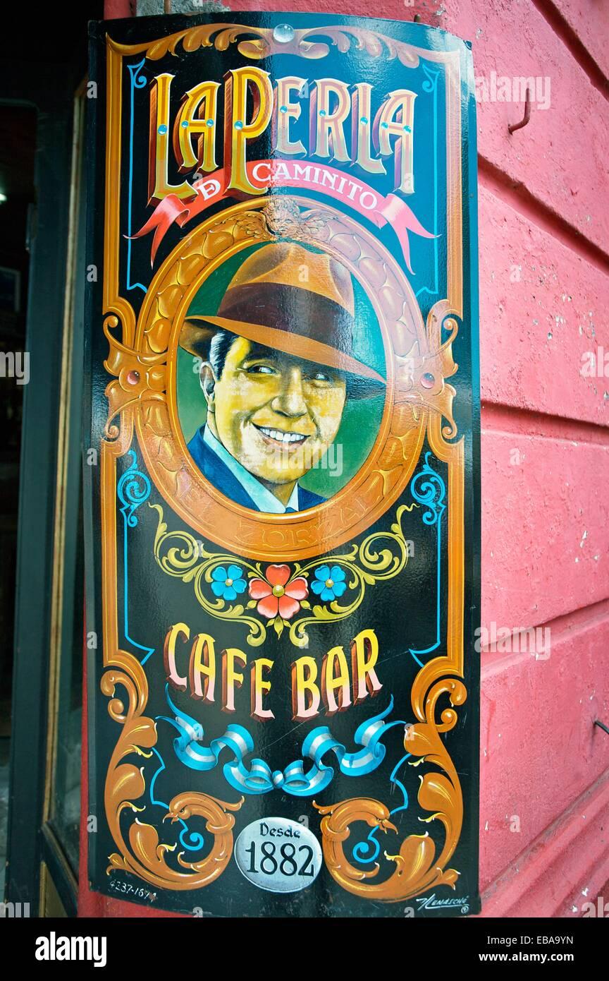 Carlos Gardel Malerei, La Boca, Buenos Aires, Argentinien, Südamerika. Stockbild