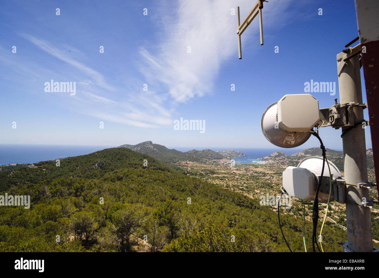 Kommunikation-Antennen, Andratx, Mallorca, Balearen, Spanien, Europa. Stockbild