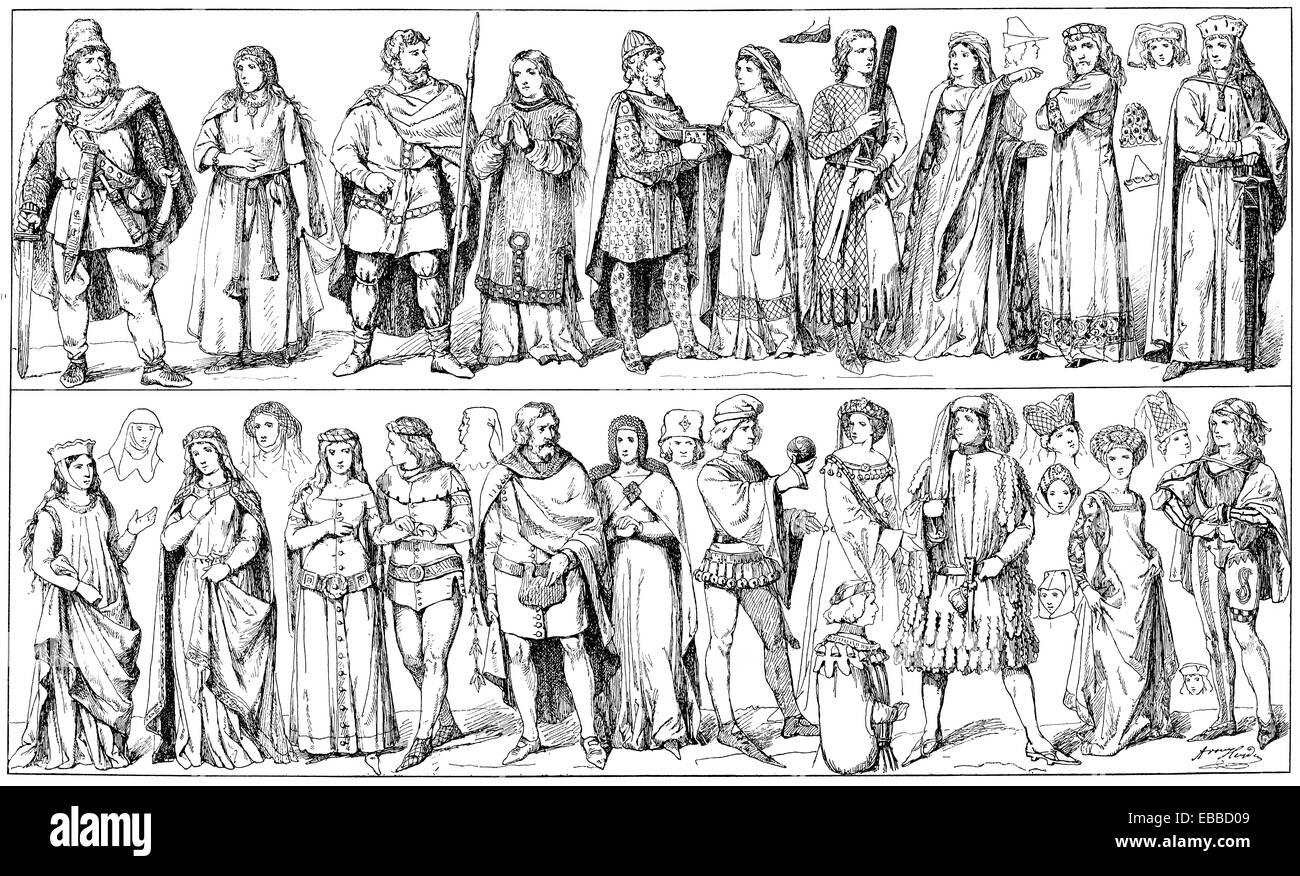 mittelalterliche Kostüme, Tracht Im Sprachgeschichte Stockbild