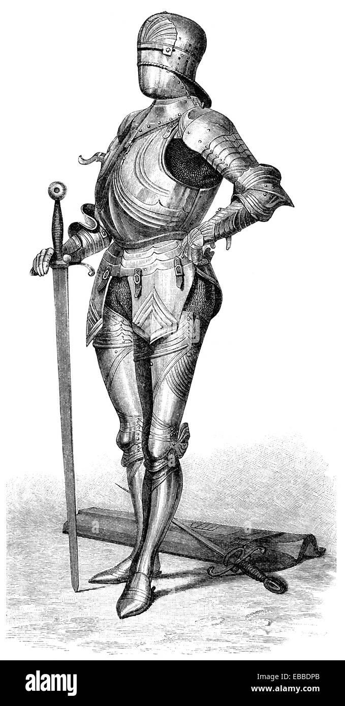 mittelalterliche Rüstungen, Deutschland, 15. Jahrhundert, Ritterrüstung aus Dem 15. Halbmonatsschrift, Stockbild