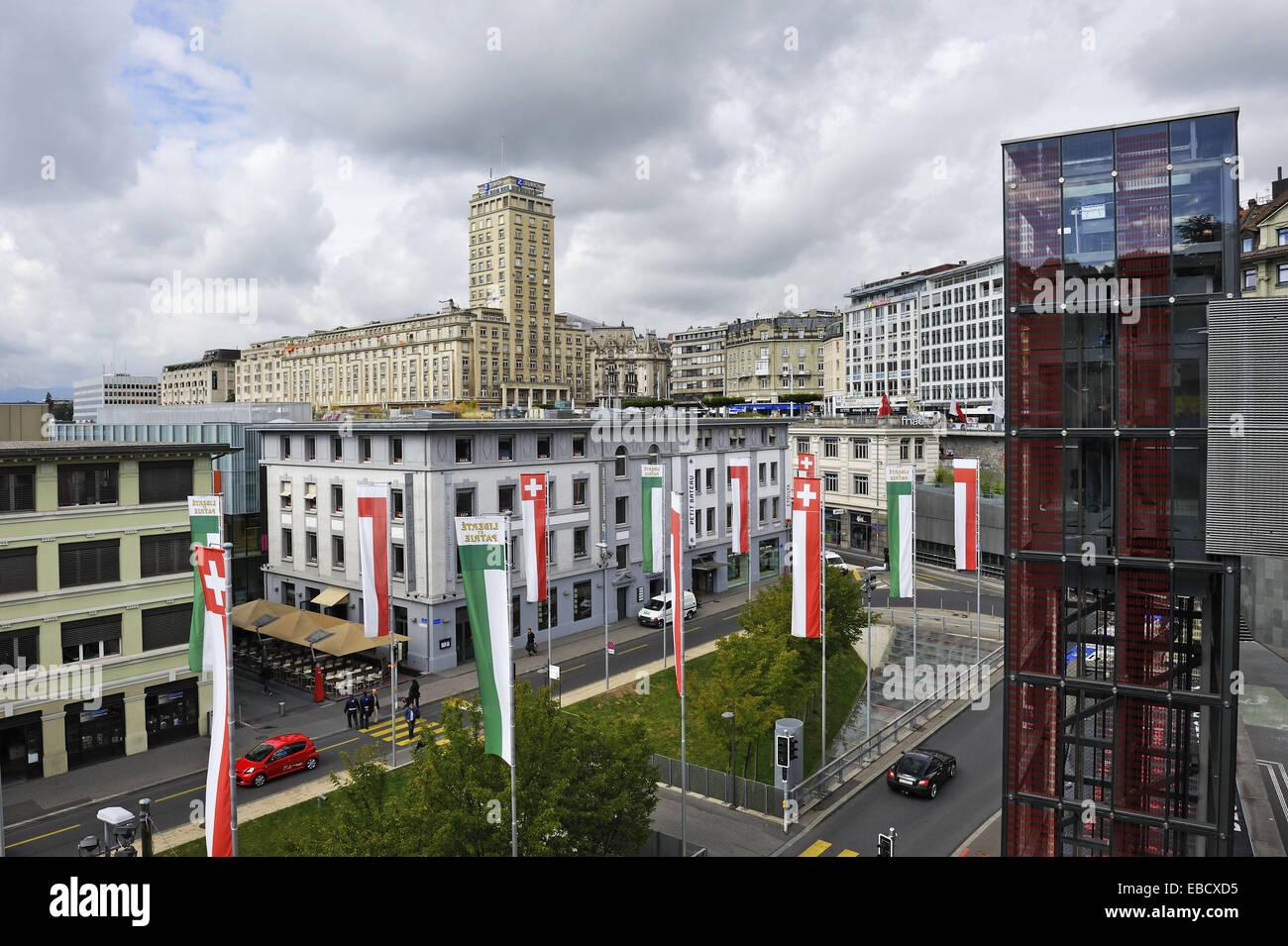Architektur Hintergründe Bel Air Bridge Kanton Waadt Farbe Bild Bund Bezirk Aufzug Europas Flon Steg Stockbild