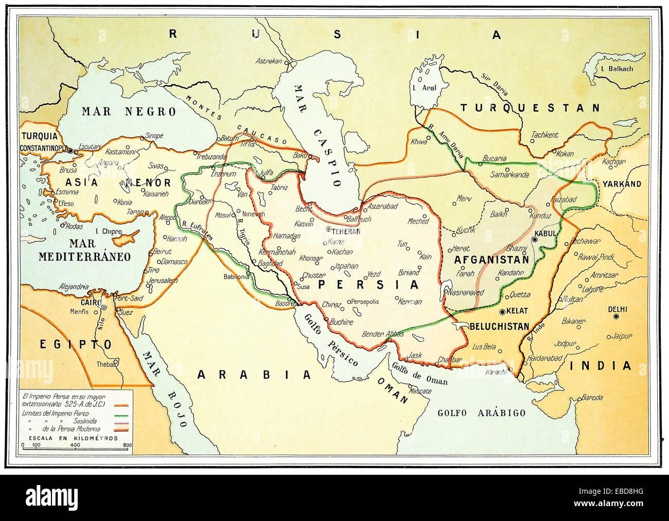 Persien Karte.Antike Und Moderne Karte Von Persien Auf 1920 Stockfoto Bild