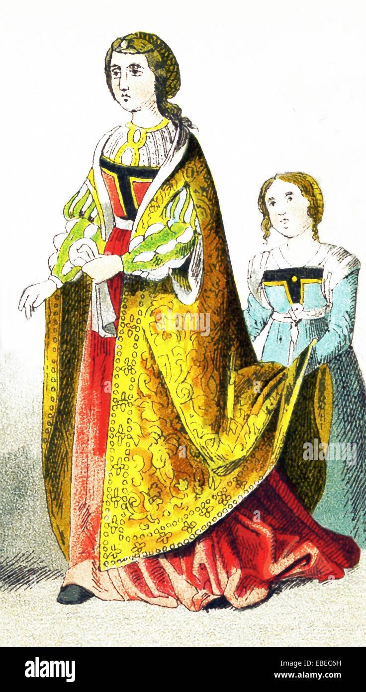 Die hier abgebildeten Figuren repräsentieren eine spanische Prinzessin und Begleiter in der Zeit zwischen 1400. Stockbild