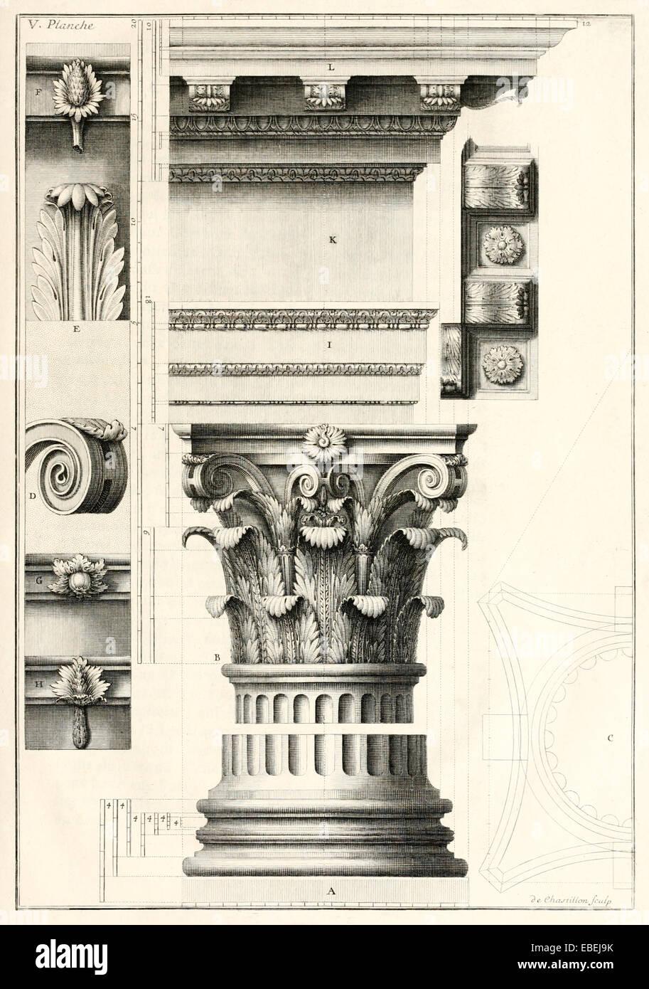 Korinthische Säule von Claude Perrault, französischer Renaissance-Architekten-Abbildung. Siehe Beschreibung Stockbild