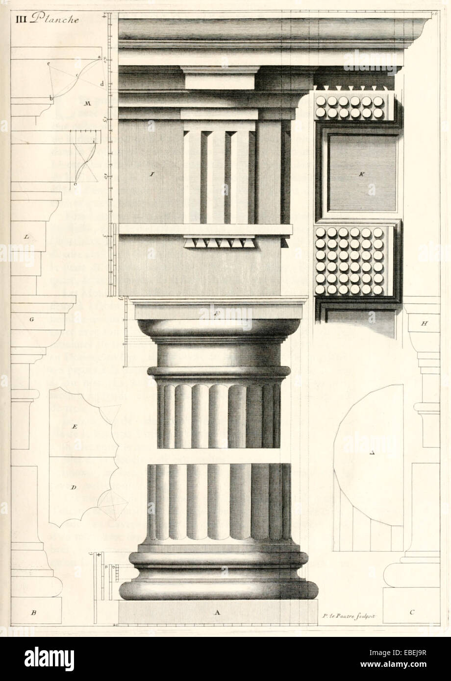 Dorische Säule von Claude Perrault, französischer Renaissance-Architekten-Abbildung. Siehe Beschreibung Stockbild