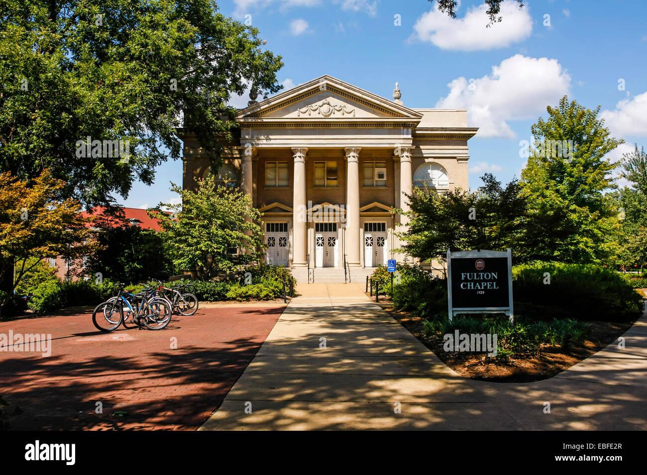 """Der Fulton-Kapelle, die Gebäude auf dem Campus der """"Ole Miss"""" - University of Mississippi in Oxford Stockbild"""