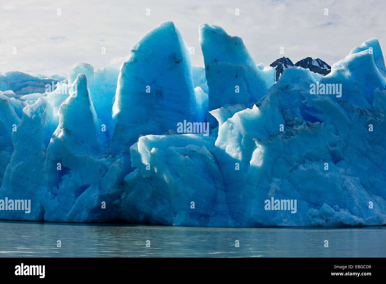 Grau-Gletscher, Eisfall, Gletscher Endstation, Torres del Paine Nationalpark, Chile Stockbild