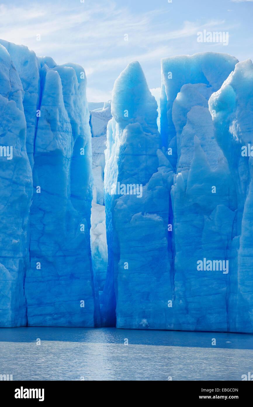 Grau-Gletscher, Gletscherzunge, Eisfall, Torres del Paine Nationalpark, Chile Stockbild