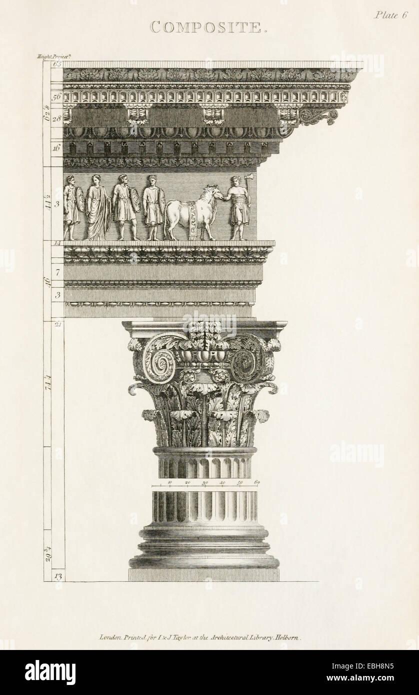 Composite Sortierspalte Aus Die Grundlagen Der Antiken Architektur Siehe Beschreibung Fur Mehr Stockbild