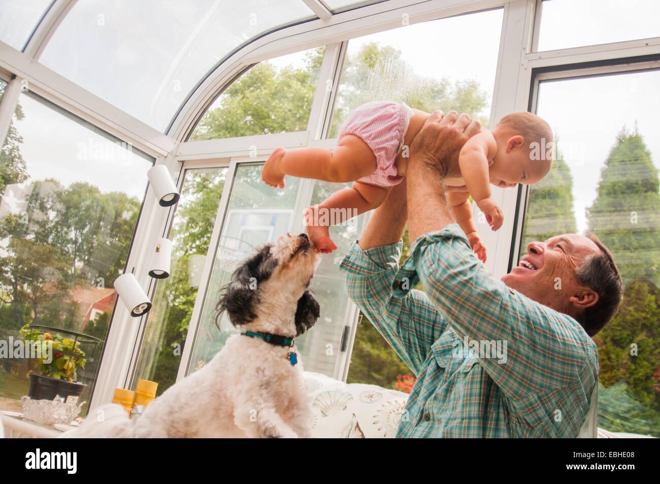 Großvater hält Baby Enkelin im Wintergarten Stockbild
