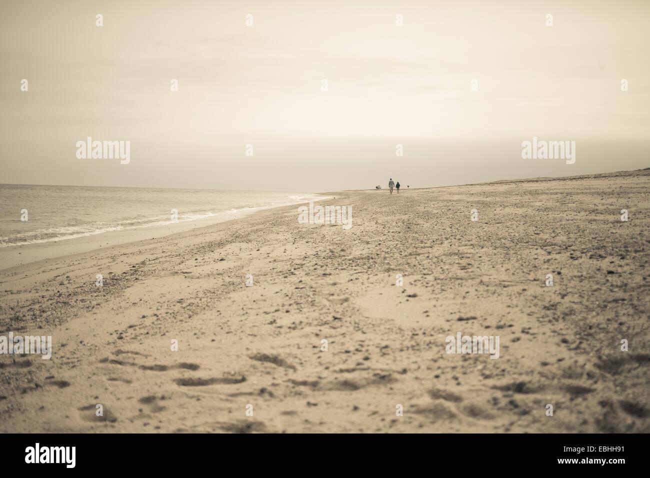 Fernsicht auf zwei Personen, ein Spaziergang am Strand, Truro, Massachusetts, Cape Cod, USA Stockbild