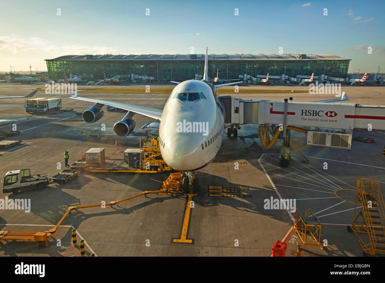 Vorbereitung für den Start einer Boeing 747 Stockbild