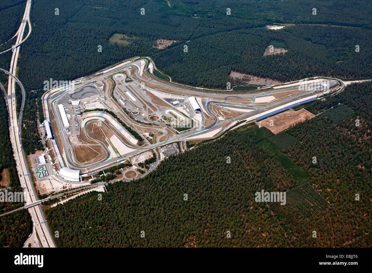 Luftbild von der Motorsport-Rennstrecke Hockenheimring, Deutschland, Baden-Württemberg, Hockenheim Stockbild