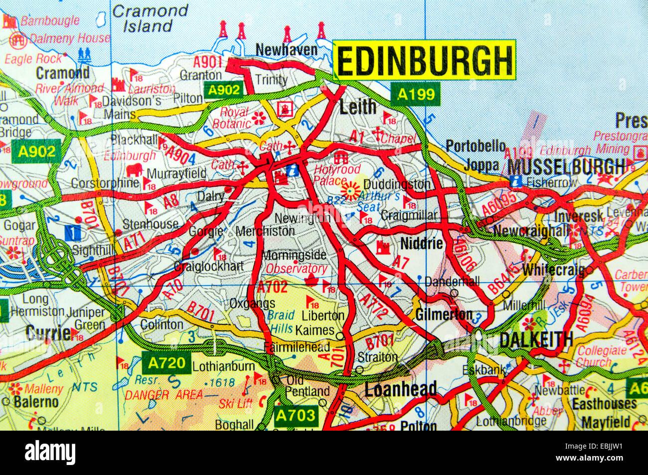 Map Of Edinburgh Stockfotos & Map Of Edinburgh Bilder - Alamy
