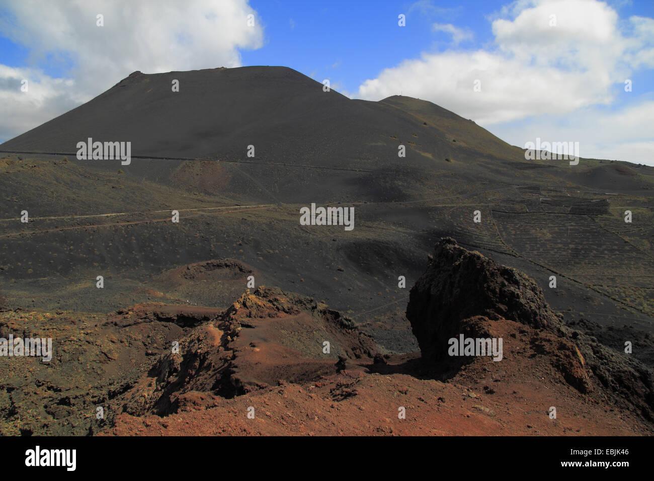 Blick vom Vulkan Teneguia am Krater des San Antonio, Kanarische Inseln, La Palma, Vulkan de San Antonio Stockbild