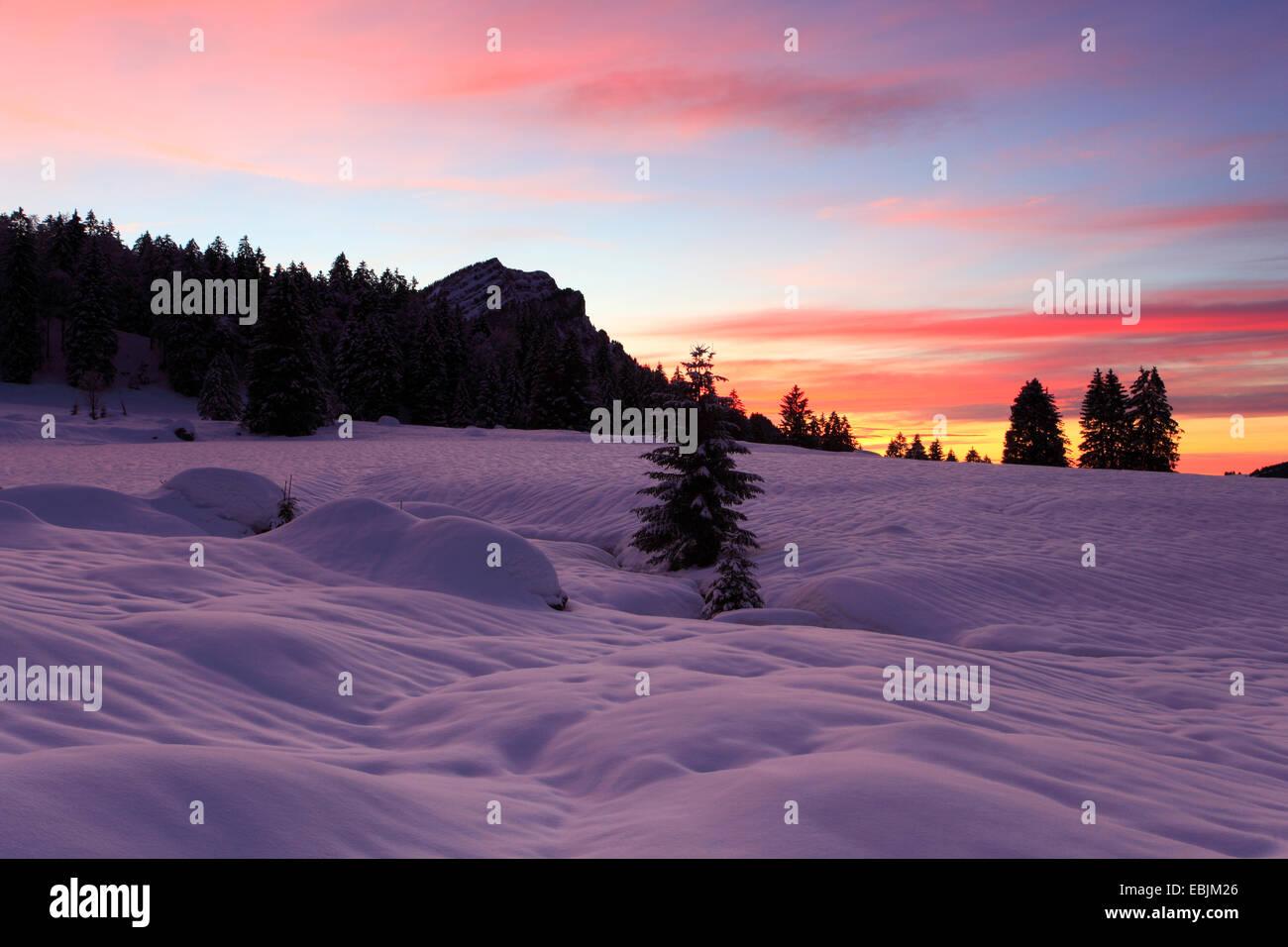Roter Himmel über tief verschneiten Ebene in den Appenzeller Alpen, Schweiz, Appenzell Stockbild