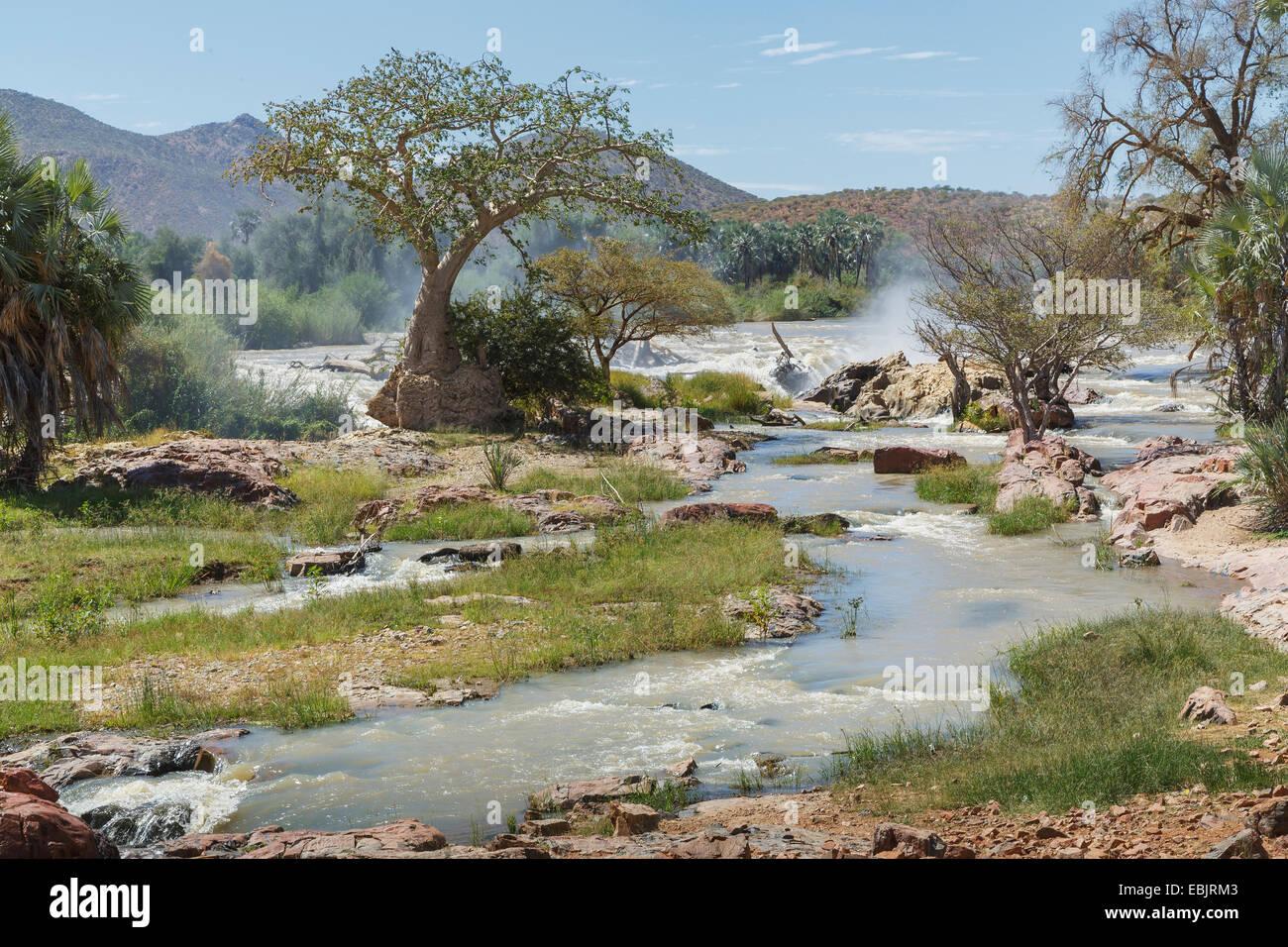 Blick auf Epupa Wasserfälle, Namibia Stockfoto