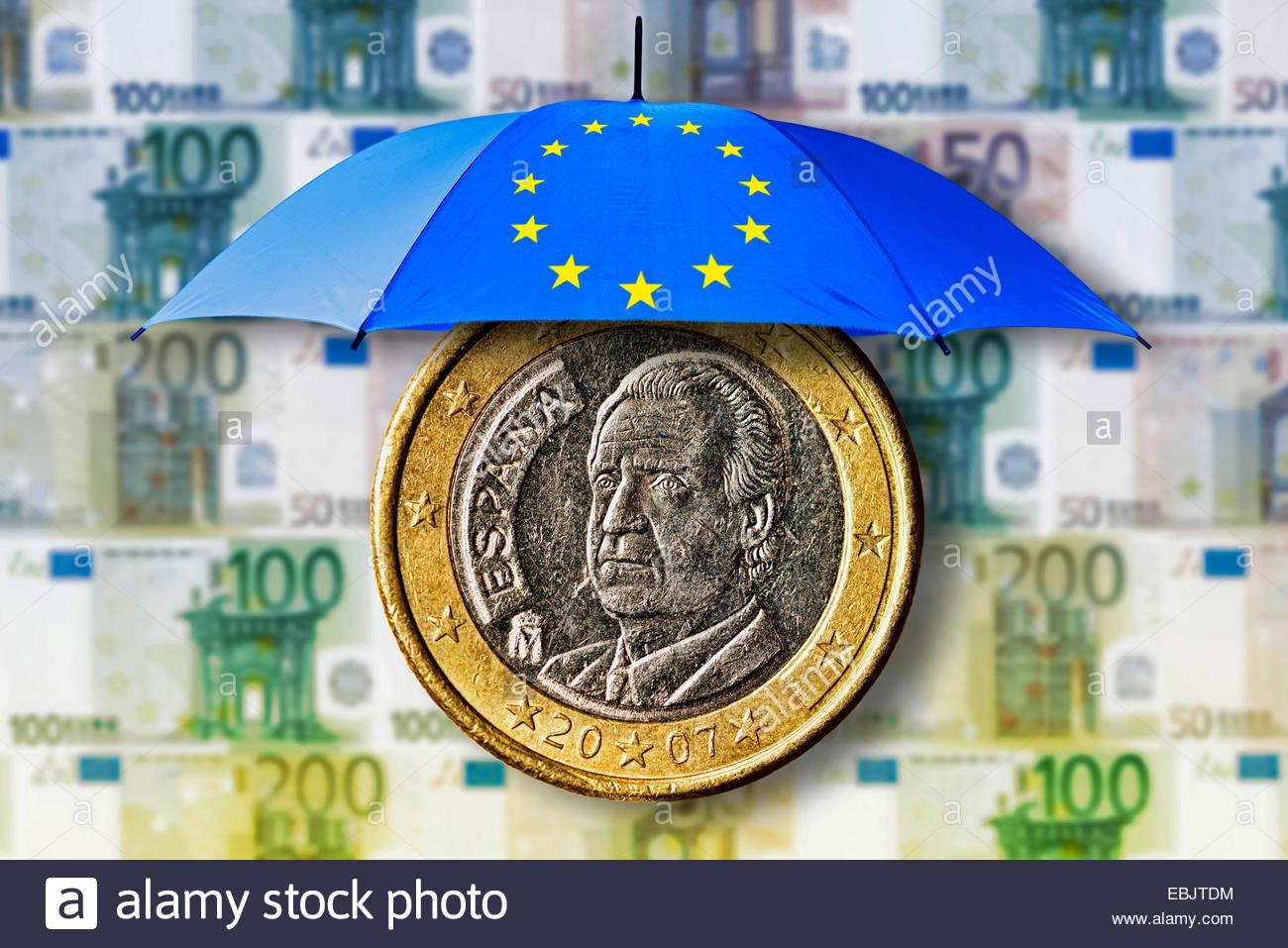 Spanische 1 Euro Münze Unter Einem Regenschirm Mit Eu Symbol Vor