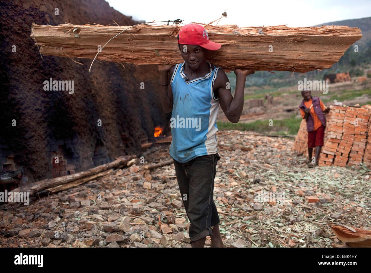 junger Mann mit Holz Balken für das Abfeuern von Ziegelei, Burundi, Karuzi, Buhiga Stockbild