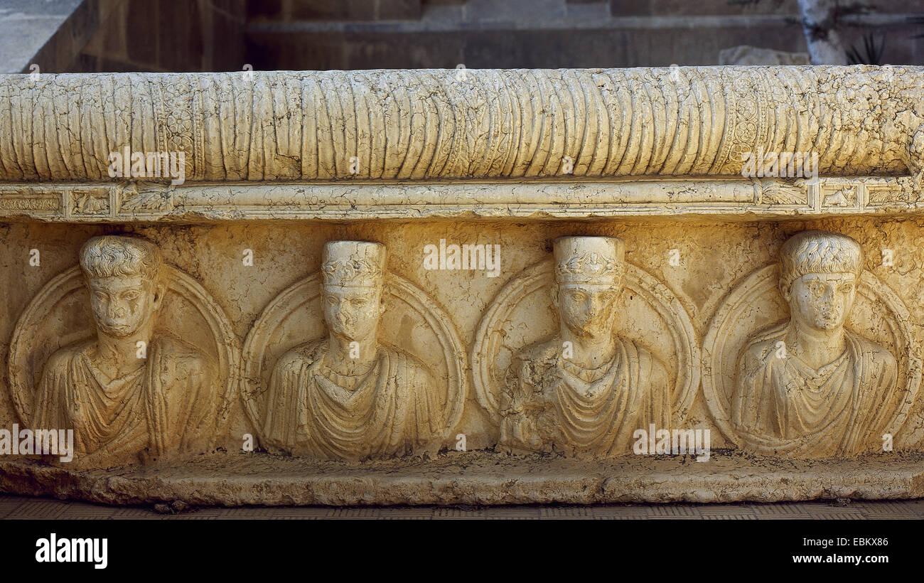 Römische Kunst. Syrien. Porträts. Relief. Gärten von Palmyra Archäologisches Museum. Tadmor. Stockbild