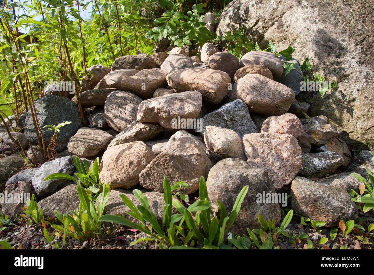 Haufen von Steinen in einem Garten, Lebensraum für Tiere, Deutschland Stockbild