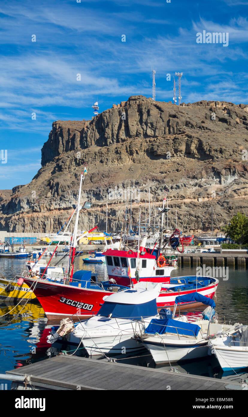 Angelboote/Fischerboote in Puerto de Mogan auf GranCanaria, Kanarische Inseln, Spanien Stockbild
