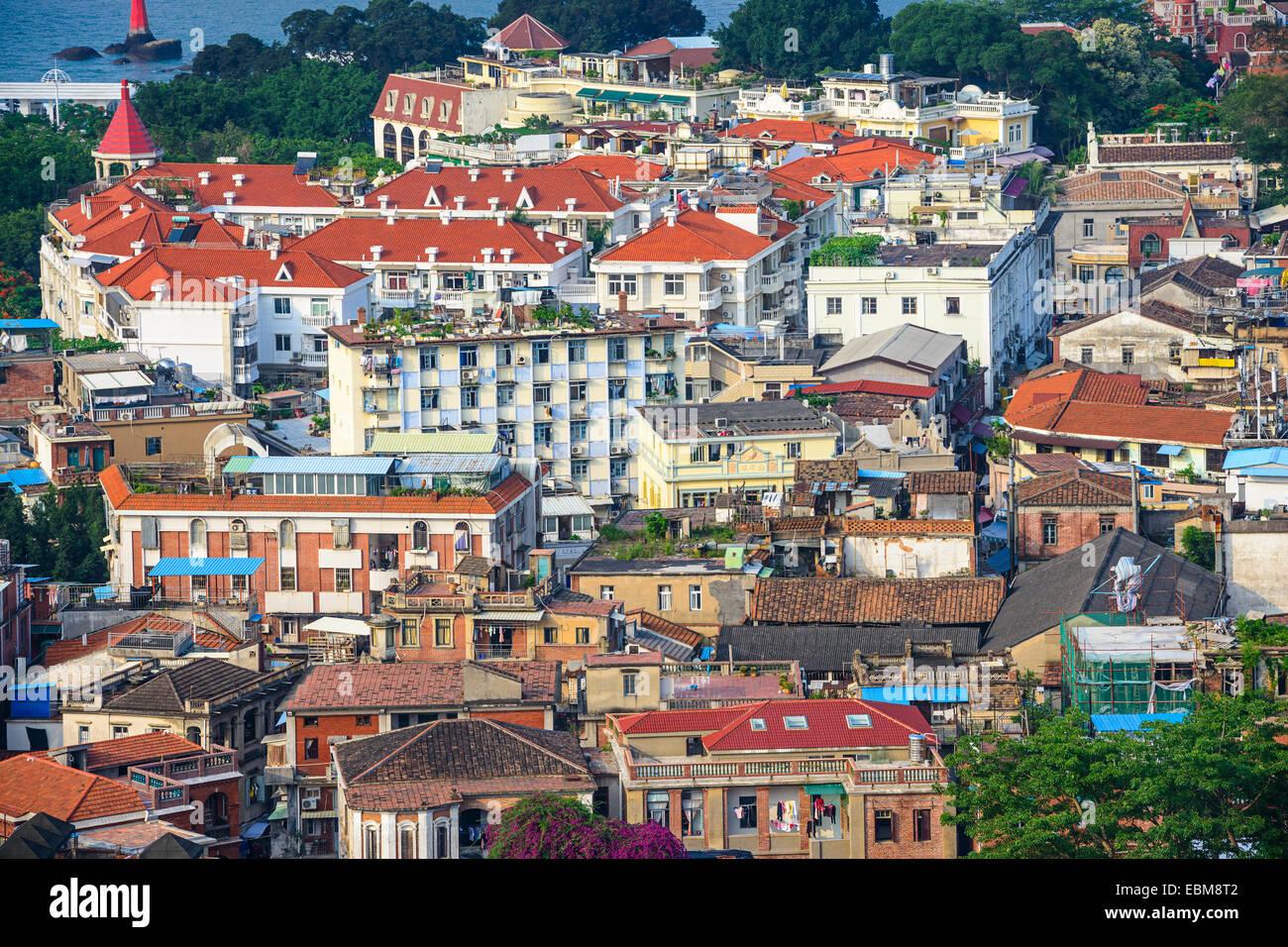Xiamen, China Stadtbild von historischen Gebäuden auf der Insel Gulangyu. Stockbild