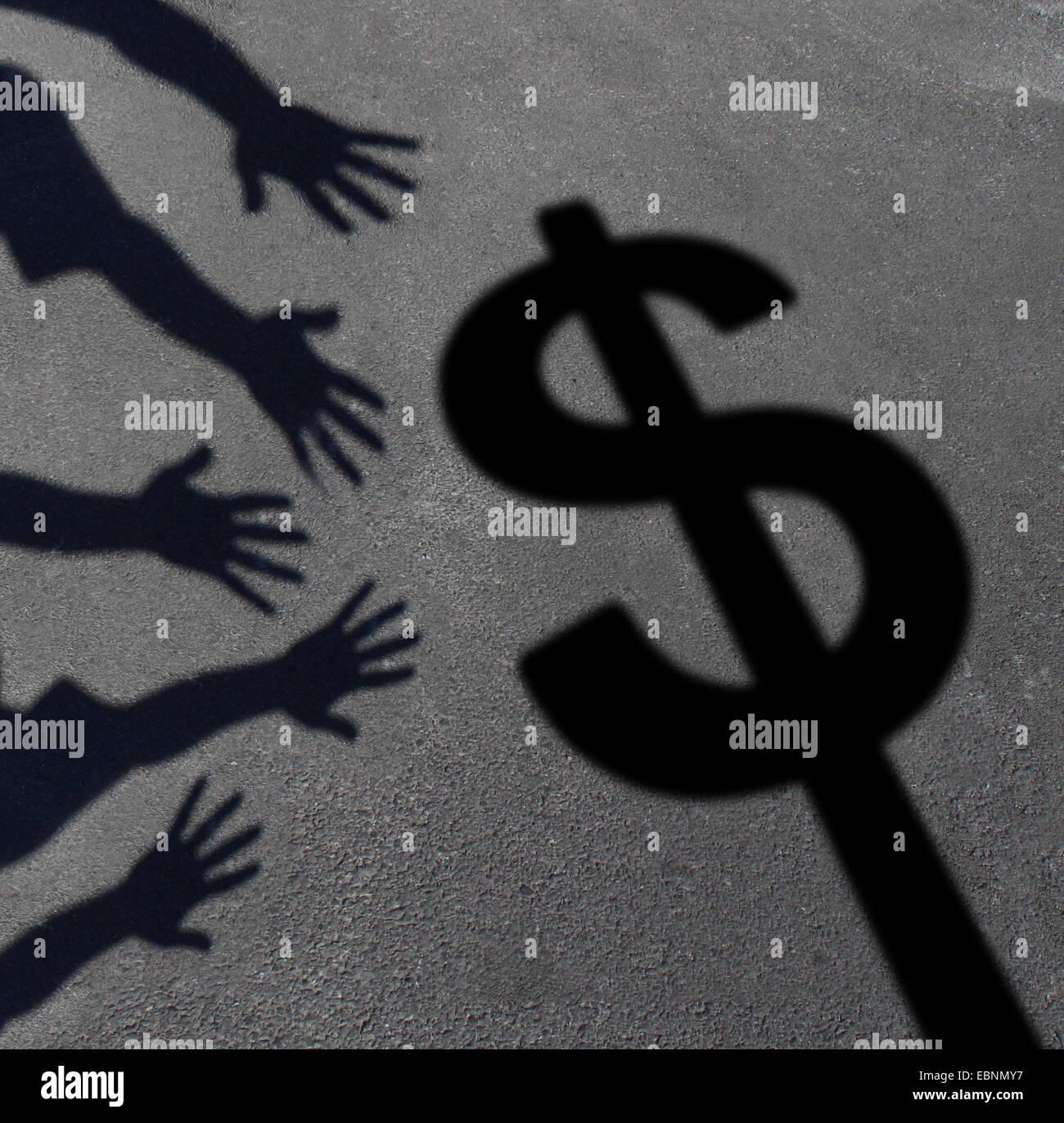Geld holen und menschliche Gier Konzept als Schatten auf Bürgersteig einer Gruppe von Hand Griff nach einem Stockbild