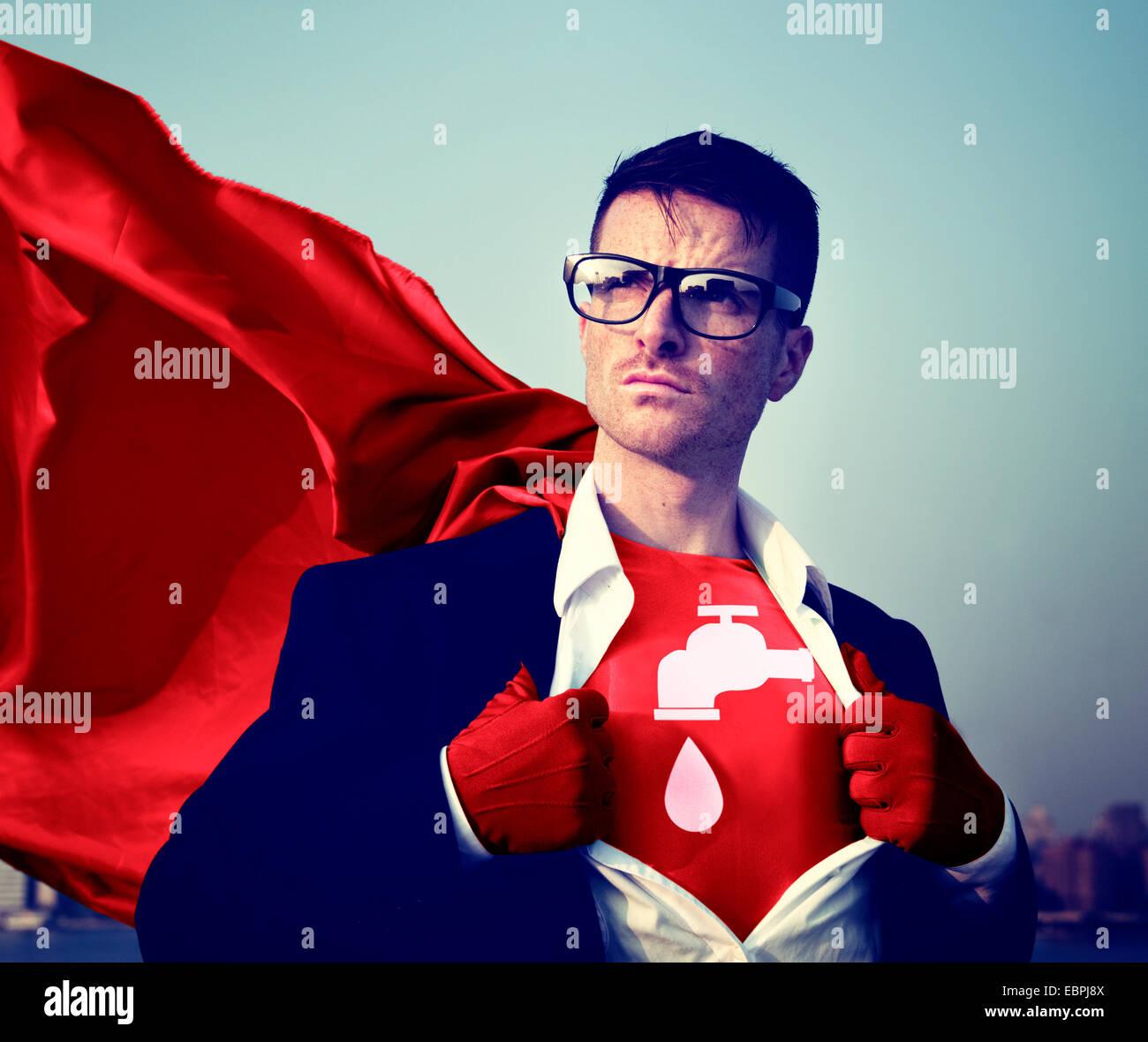 Starke Superhelden professionelle Empowerment Lager Erfolgskonzept zum Wassersparen Stockbild