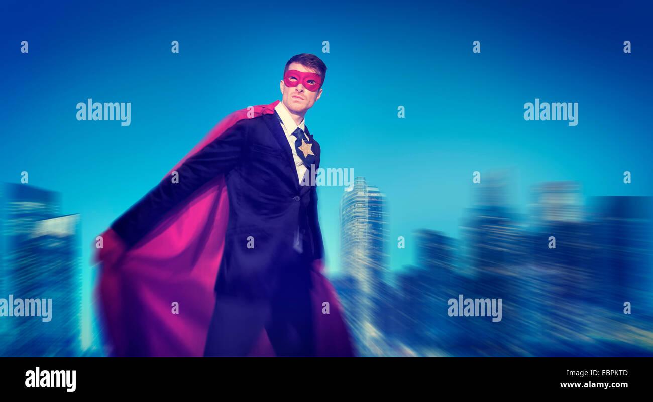 Starke leistungsfähige Superhelden Stadtbild Geschäftskonzepte Stockbild