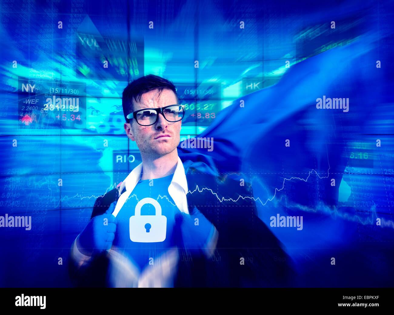 Starke Superhelden Erfolg professionelle Empowerment Lager Datenschutzkonzept Stockbild