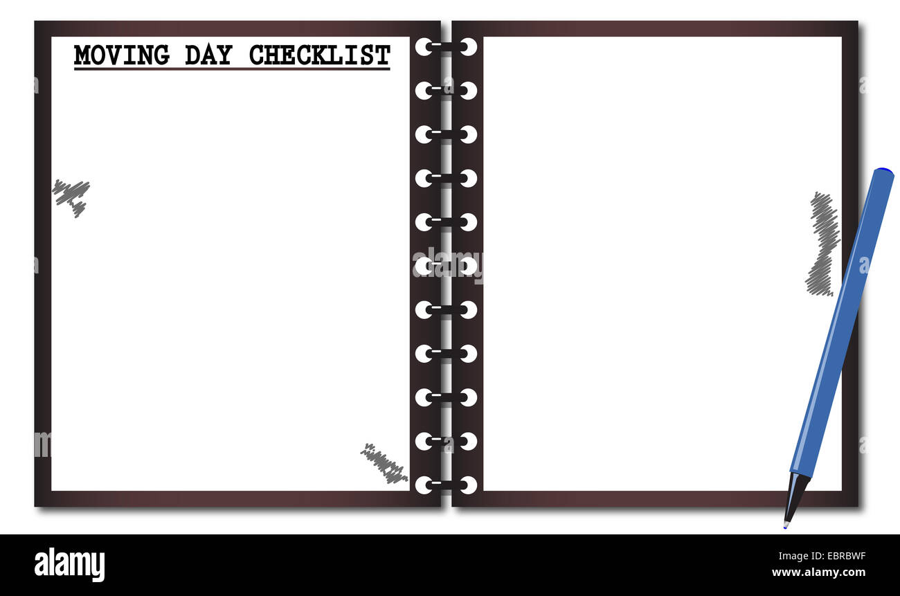 Eine bewegende Tag Checkliste Notizblock mit einem Stift Vorlage ...